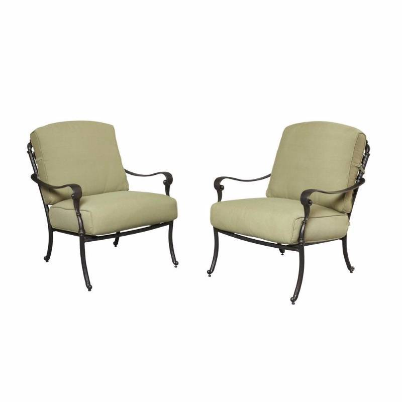 Hampton Bay Chairs Edington Patio Lounge Chair With Celery Cushion 2 Pack New Kx Real Deals
