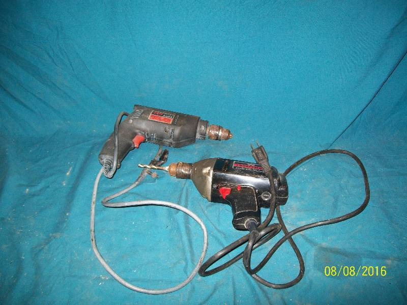 2 Corded Variable Speed Hand Drills, A) Craftsman 3/8