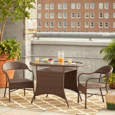 Hampton bay youngstown 3 piece all weather wicker patio for Real wicker outdoor furniture