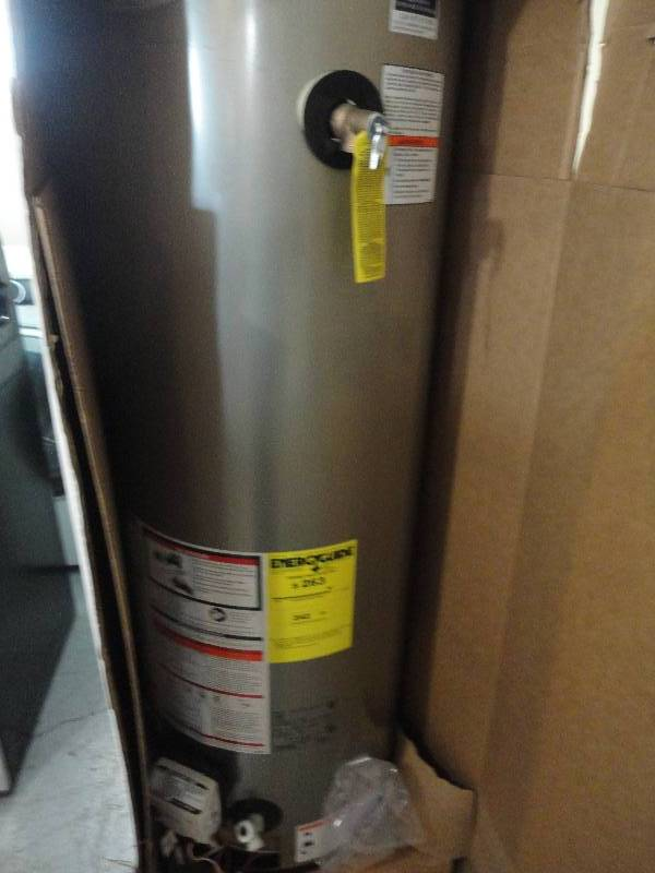 Whirpool natural gas 40 gallon water heater new in box for Used hot water heater