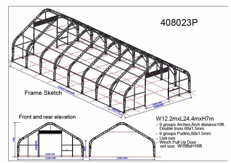 New 40 x 80 x 23 ft double truss storage building p408023p for 40 foot roof truss
