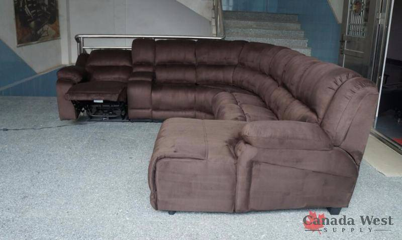 New Large Brown Recliner Sectional Couch Set Elephant Skin