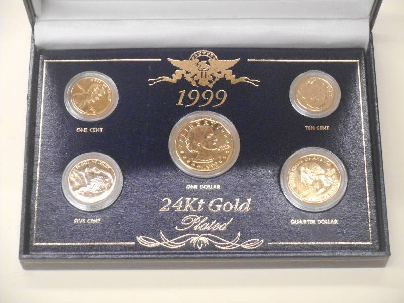 1999 - 24Kt Gold Plated US Coin Set... | LE September Coins u0026 Comics | K-BID & 1999 - 24Kt Gold Plated US Coin Set... | LE September Coins u0026 Comics ...