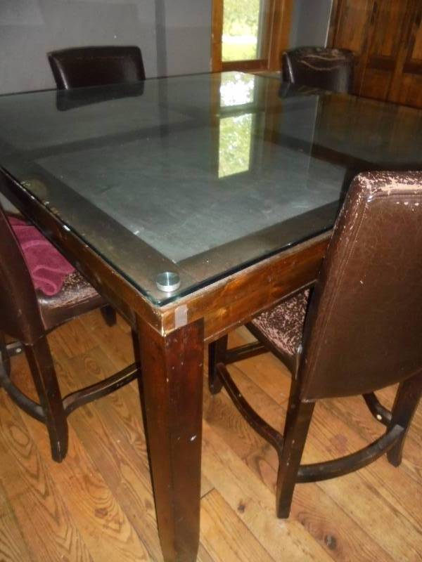 very large kitchen table w slate inserts glass 4 chairs