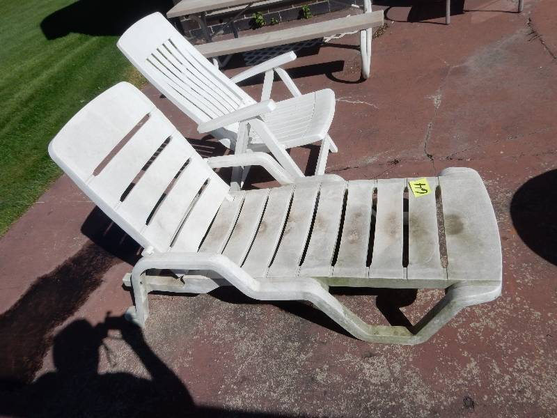 plastic chaise lounge chair and upright chair shape just need some cleaning coates