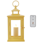 "Luminara 11"" Hudson Lantern with Flameless Votive Candle and Remote - YELLOW"