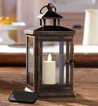 "Luminara 11"" Hudson Lantern with Flameless Votive Candle and Remote - BRONZE"
