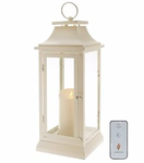 "Luminara 19"" Heritage Indoor Outdoor Lantern with Flameless Candle & Remote - Ivory"