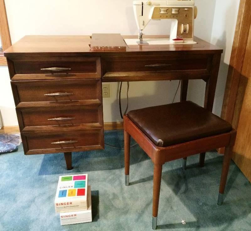 Singer model 750 golden touch sew zig zag sewing machine in mid century modern cabinet Model home furniture auction mn