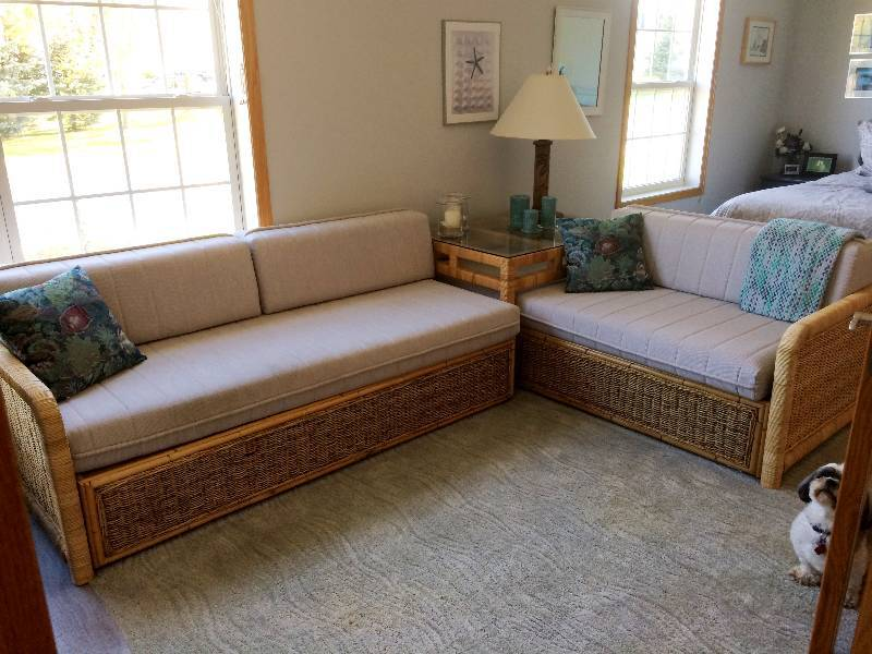 Part Of The Bahama Bedroom Set   Wicker World High Quality Bamboo Rattan  Wicker Bahama Bed   2 Daybeds With Corner Glass End Table   Look ...