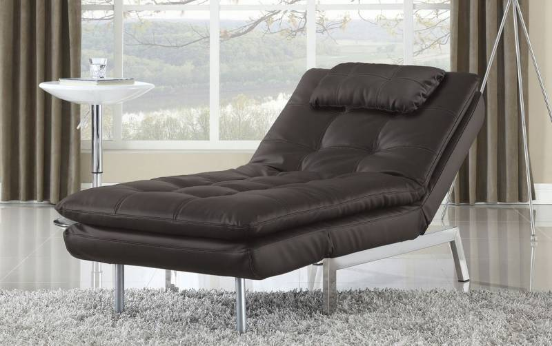 Serta valencia click clack bonded leather chaise java for Bellagio 100 leather chaise