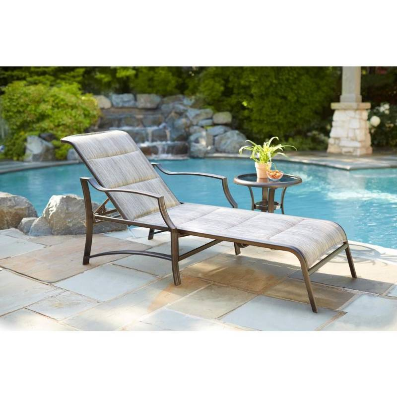 Hampton bay statesville padded patio chaise lounge new for Chaise de patio