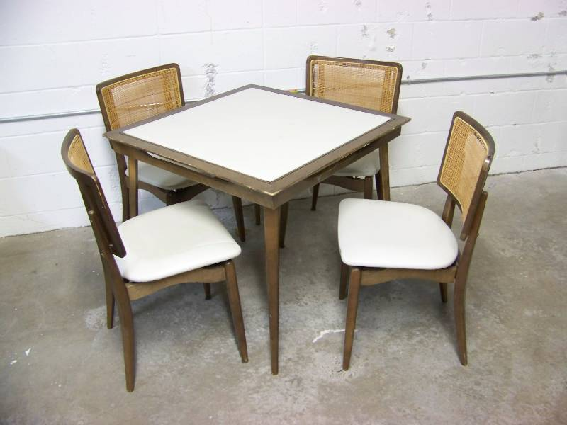 Vintage Stakmore Folding Table and 4 Chair Set Game Card Table w/ Original Vinyl Top Mid Century Modern Retro 50u0027s 60u0027s Cane Back Wood | #177 ... & Vintage Stakmore Folding Table and 4 Chair Set Game Card Table w ...