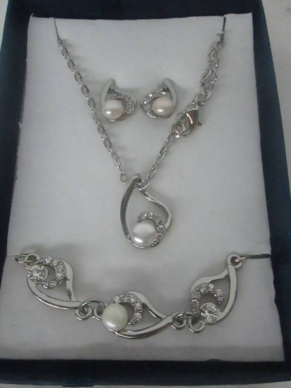 pearl cz accent jewelry set december store returns 1