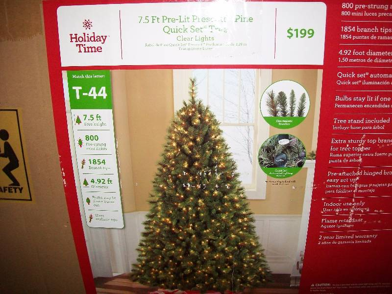 holiday time indoor pre lit 75 prescott pine quick set artificial christmas tree 800 clear lights low opening bids