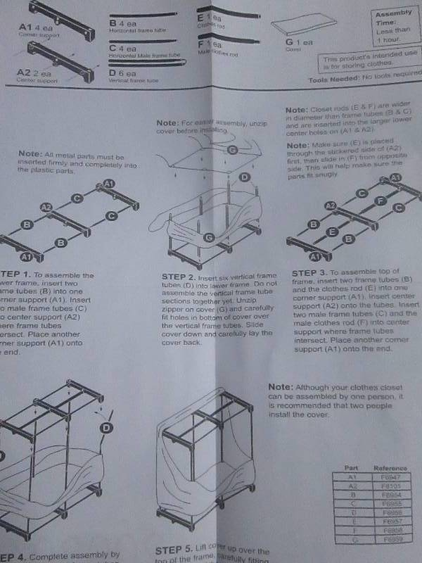 whitmor clothes closet assembly instructions