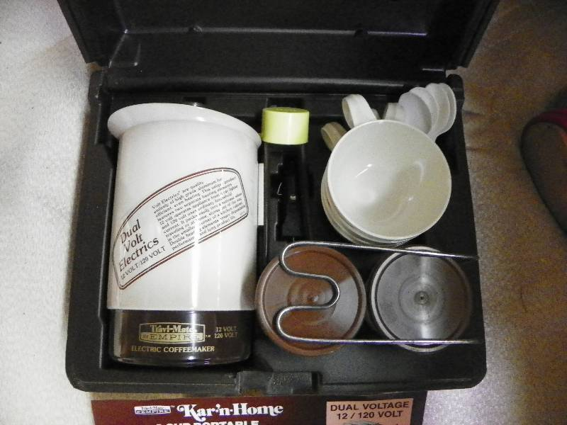 Travel Coffee Maker Kit : Side Table and Coffee Maker Travel Kit December Household Estate Auction #2 K-BID