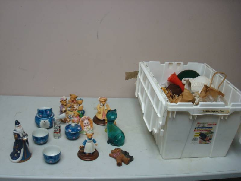 Bin filled with some collectible d cor items knick knacks 92 drexel wood desk furniture Home decor knick knacks