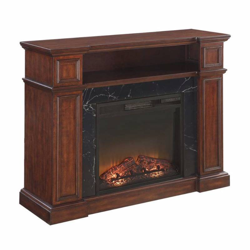 Mcleland design essex media fireplace mantel with faux for Faux marble fireplace mantels
