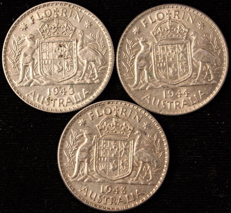Group Of 3 1943 1944 Silver Australia Florin 11 3 Gram 92