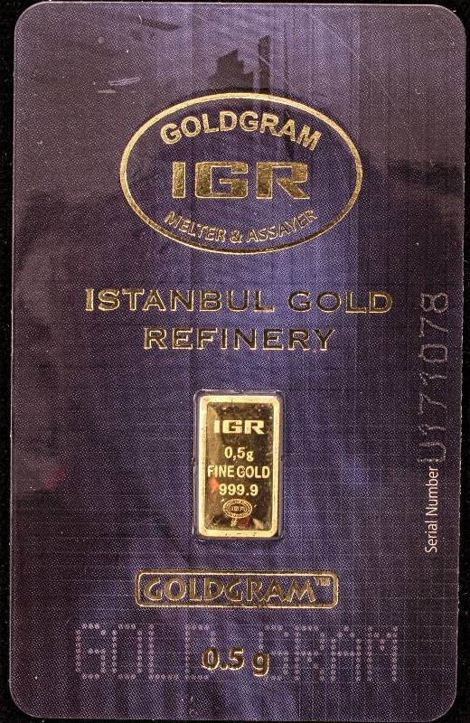 1 2 Gram 9999 Fine Gold Istanbul Refinery Sealed Dec