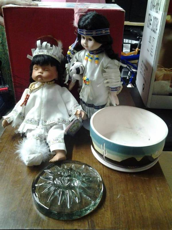 2-Porcelain Indian Dolls, Southwest Pottery Bowl, Sun