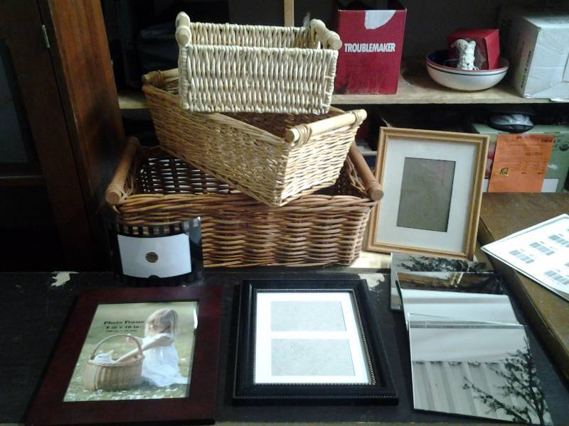 Assorted Wicker Baskets & Picture Frames