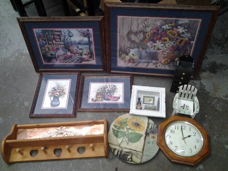 Floral Pictures, Peg Wall Hooks, Clock, Other Decor
