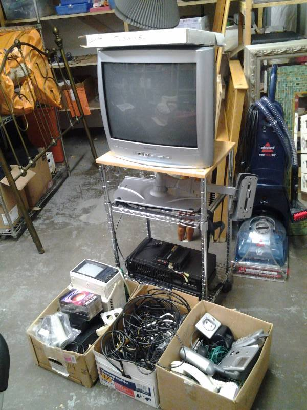 Large Lot Of Electronic  Related- TV With Remote (Works), Cordless Telephones, Stereo Tuner With EQ, Cables & Connecters