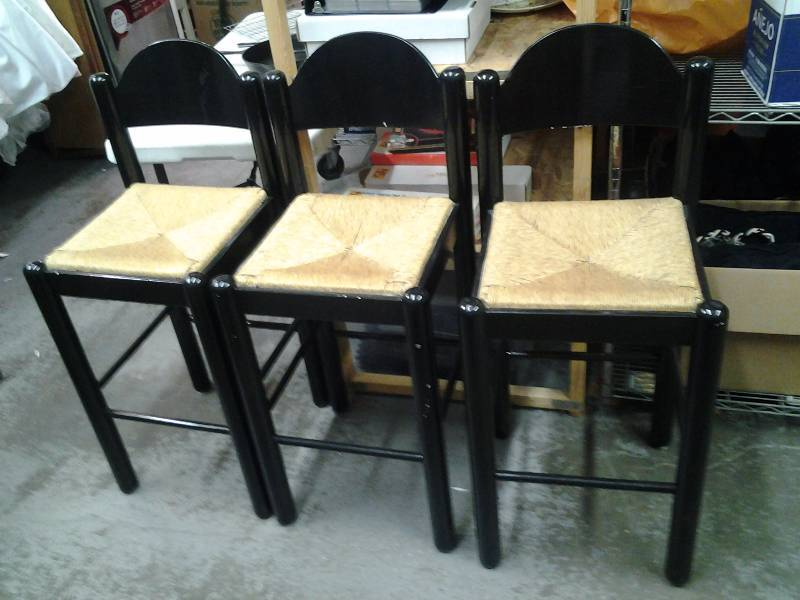 3-Bar Stools, With Wicker Seats (All In Good Sturdy Condition) Made In Italy.