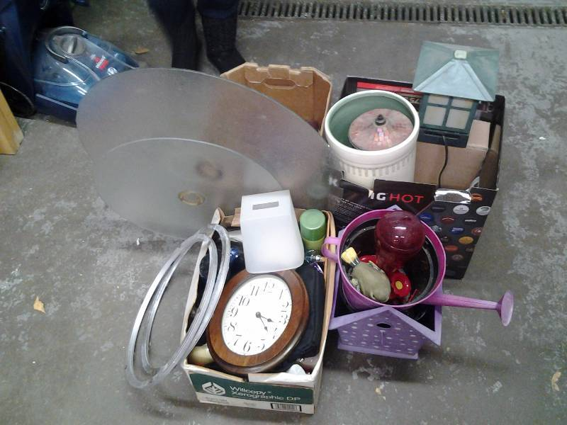 Large Lot Of Misc Patio Table, Lazy Susans (Glass), Bird Feeders, Planter Pots, Watering Can, Sundries, More.