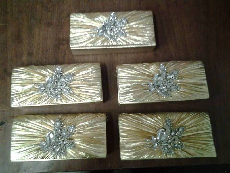 Set Of 5 Gold & Rhinestone Clutches