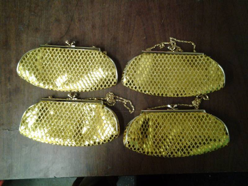 Set Of 4 Gold Glitter Clutches