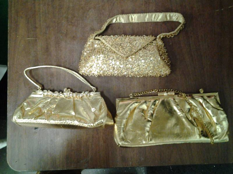 3-Assorted Gold Clutches