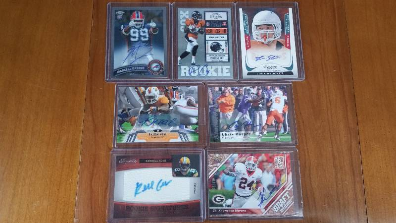 Group of 7 Autographed Rare Football Cards