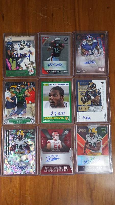 Group of 9 Autographed Rare Football Cards