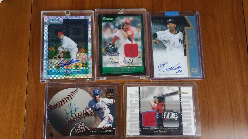 Group of 5 Rare Autographed & Jersey Insert Baseball Cards