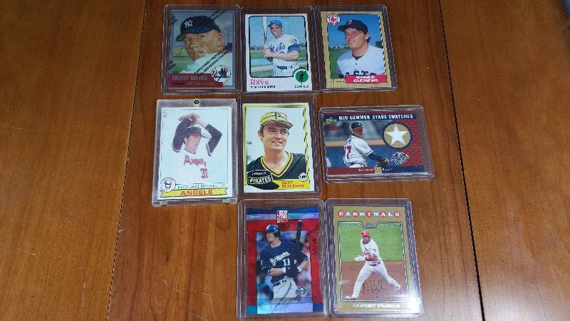 Group of 8 Star Baseball Cards - Mantle, Mays, Ryan, Etc.