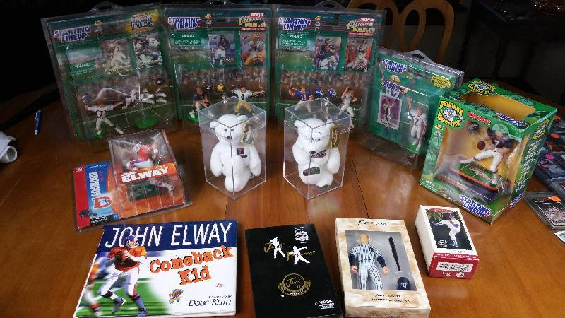 Group of John Elway Collectibles, Starting Lineups Etc