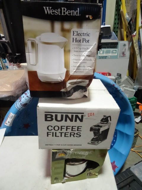 NEW Kitchen Lot incl. Revere Copper Bottom Stainless Steel Whistling Kettle, West Bend Electric Hot Pot and Bunn Coffee Filters est Retail $48