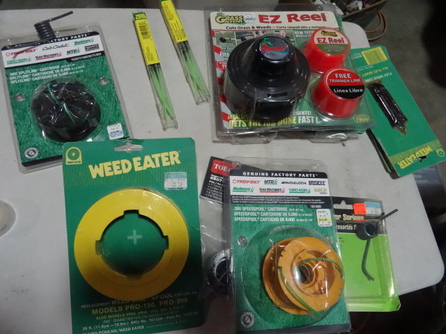 NEW LARGE LOT Weed Eater Parts and Lube incl. $25 Grass Gator EZ Reel Replacement Reel, 10x Reels of Trim Line, 2x Weed Eater Quick Clip and MORE. Approx Retail. $100 retail