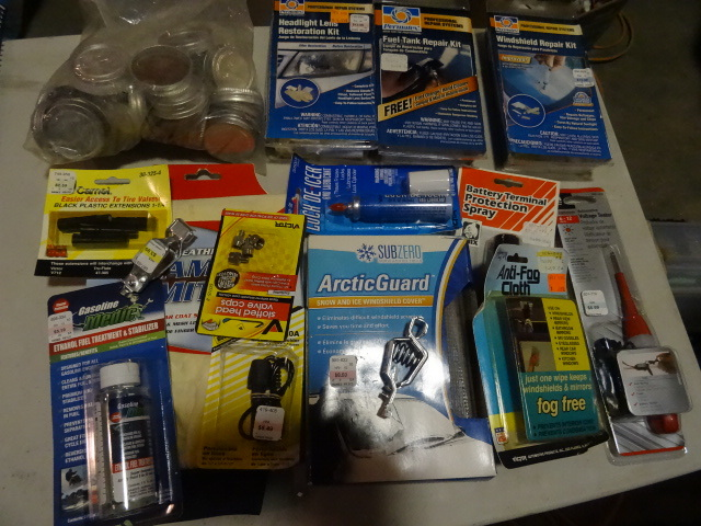 NEW LOT Automobile Items incl. Windshield Repair Kit, Fuel Tank Repair Kit, Headlight Repair Kit, Voltage TesterChamois Mitt, Gas Caps AND MORE: Est. Retail $75