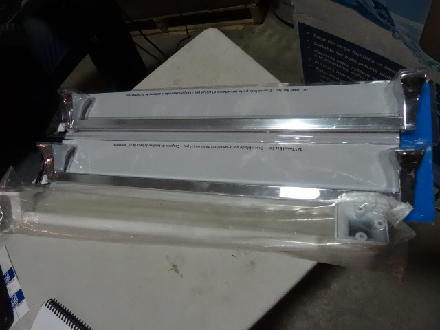 NEW Qty 3 Towel Bars 24 in length 2x Stainless Steel, 1x White Retail $43