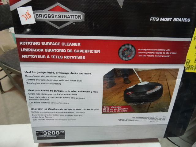 Briggs and Stratton Rotating Surface Cleaner Attachment for Pressure Washer up to 3200 psi. Model 6328 Open Box. $80 retail