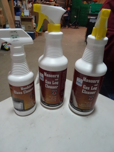 NEW LOT Qty 3 Masonary and Gas Log Cleaner and WoodStove Glass Cleaner $30 retail
