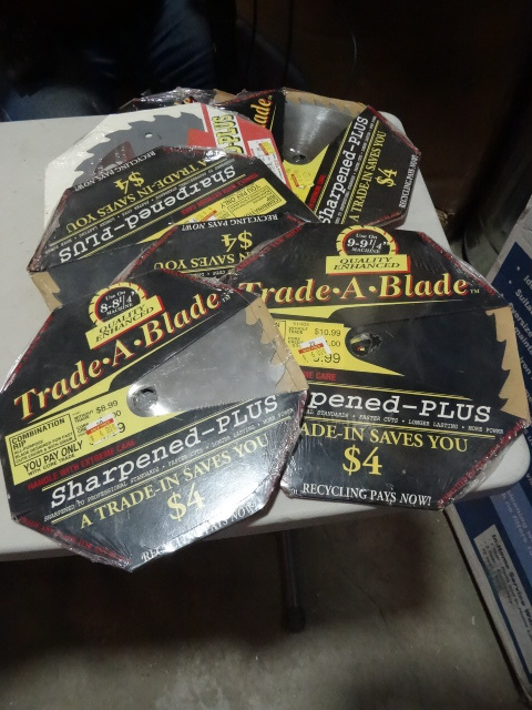 NEW Large Lot Saw Blades.Qty 9 Trade-A-Blade Resharpened Blades. 8 in and 9 in blades