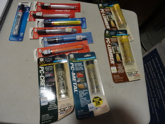NEW LOT Enamal Paint Markers, Wood Repair Putty, Metal Repair Putty and Concrete Repair Putty approx retail $50