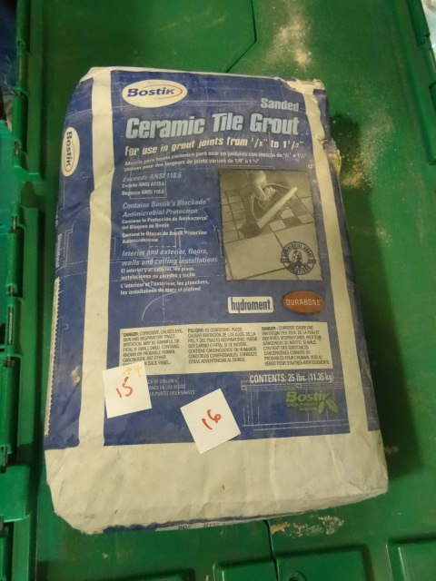 NEW LOT Qty 4 bags Bostik Antique White/Bisquit Thinset Sanded Grout for Tile. 25 lbs per bag 100 lbs total