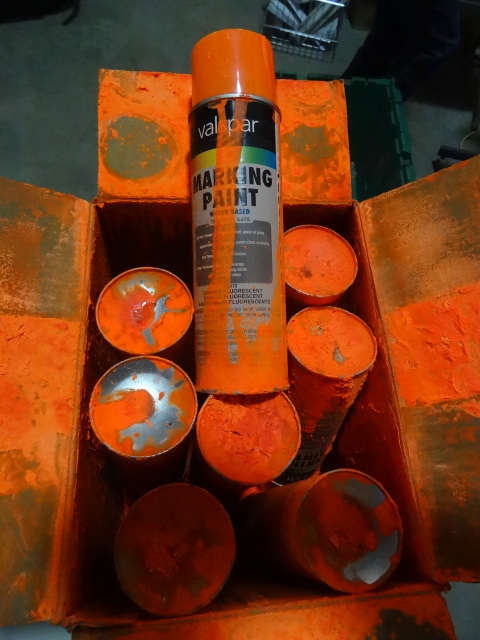 NEW Qty 8 Cans Fluorescent Orange Marking Paint. A can exploded and covered the pother cans with paint. Other than the cosmetic damage, all is good.