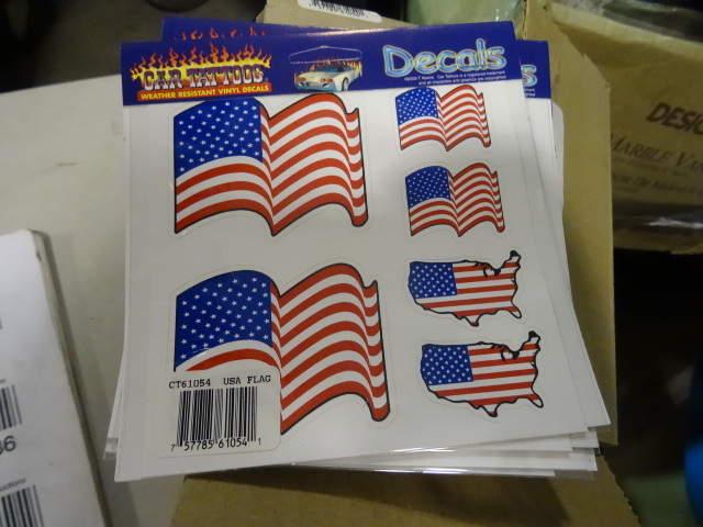 NEW LARGE LOT American Flag Stickers / Decals Full Case 432 stickers, 12 boxes of 6 sheets each with 6 stickers per sheet. Retail $215